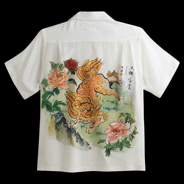 半袖アロハシャツ|MAKANA LEI(マカナレイ)|HAD006|職人による柄手描き|ホワイト(白)|メンズ|和柄|唐獅子牡丹柄(シシ・ボタン)|シルク100%|開襟(オープンカラー)|送料無料商品