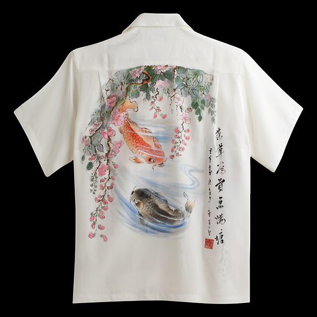 半袖アロハシャツ|MAKANA LEI(マカナレイ)|HAD011|職人による柄手描き|ホワイト(白)|メンズ|和柄|藤鯉柄(コイ・藤の花)|シルク100%|開襟(オープンカラー)|送料無料商品