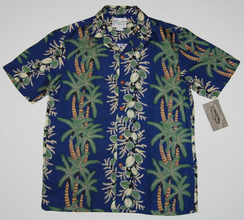 アロハシャツ|DIAMOND HEAD(ダイアモンドヘッド)|DH019|半袖|メンズ|ネイビー(紺)|新品|USサイズ|プレゼント|ヤシの木|レイ|ボーダーパターン|ハワイアン|レーヨン100%|開襟(オープンカラー)