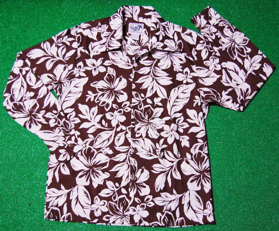 (パラダイス スタイル)|PSY004|チョコレートブラウン|ホワイト(白)|ハワイアンモチーフ柄|ツートン|コットン100%|開襟(オープンカラー)|送料無料 PARADISE STYLE 長袖アロハシャツ|