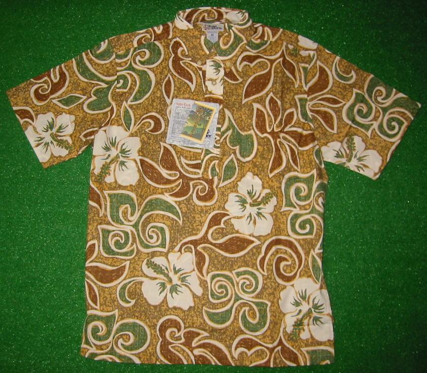 アロハシャツ REYN SPOONER(レインスプーナー) RS131 半袖 メンズ マスタード 黄色 Tahiti Texture タヒチアン 花柄 フラワー ハイビスカス おしゃれ コットン60%ポリ40%(スプーナークロス) 裏生地仕様 ボタンダウン(プルオーバー) 送料無料商品