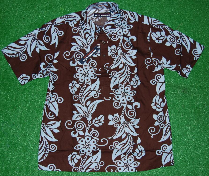 アロハシャツ|REYN SPOONER(レインスプーナー)|RS156|半袖|ブラウン(茶)|メンズ|MAUPITI|花柄|ハワイアン|フラワー|おしゃれ|ボーダー|コットン100%(スプーナークロス)|裏生地仕様|ボタンダウン(プルオーバー)|送料無料商品