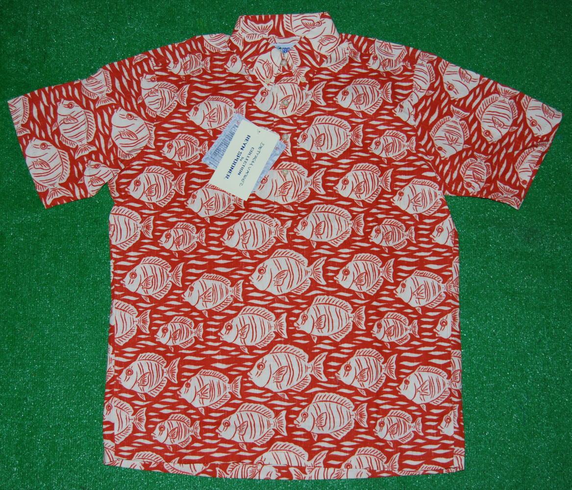 アロハシャツ REYN SPOONER(レインスプーナー) RS245 半袖 メンズ オレンジ 魚柄(マニニ) ハワイアン おしゃれ リゾート コットン60%ポリ40%(スプーナークロス) 裏生地仕様 ボタンダウン(プルオーバー) 送料無料商品