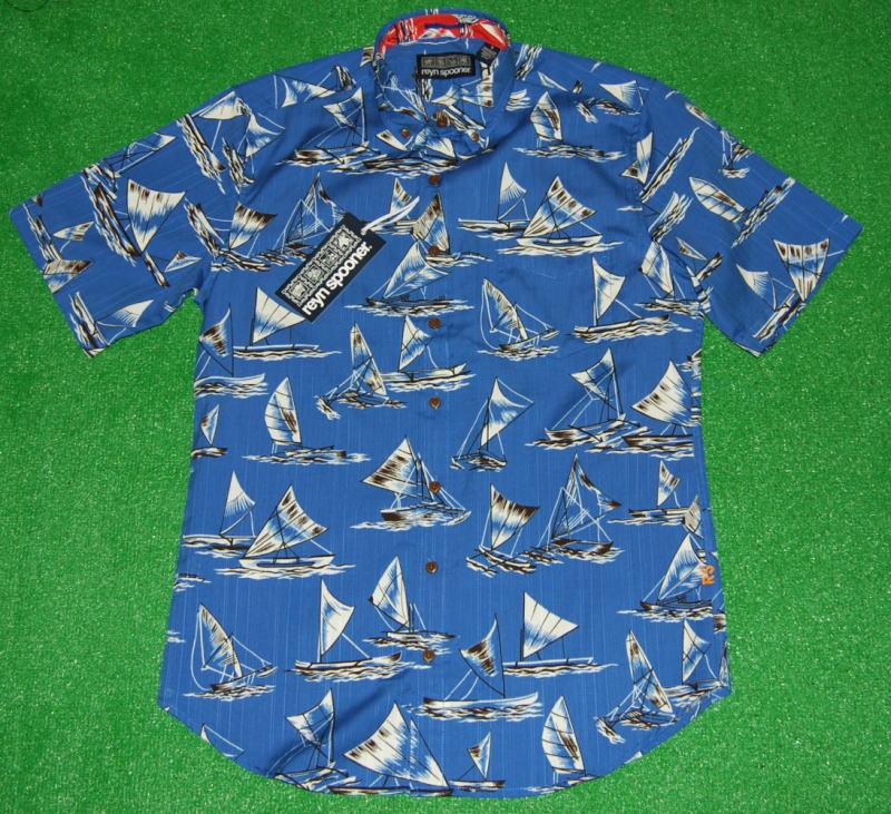 アロハシャツ|REYN SPOONER(レインスプーナー)|RS464|半袖|HOLO KIKI|メンズ|マリンブルー(青)|ヨット|船|海|ハワイ|コットン61%テンセル39%(スプーナークロス)|表生地仕様|ボタンダウン|フルオープン|送料無料商品
