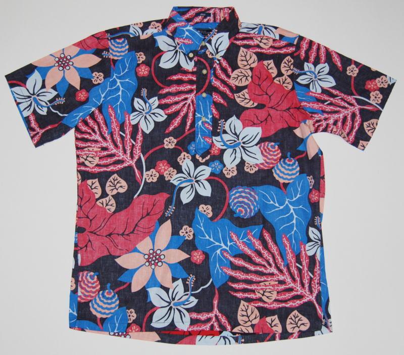 鮮やかな色彩が心を奪うアートなアロハシャツ ハワイ直輸入アロハシャツ REYN SPOONER レインスプーナー 商品番号=RS503メンズ ブラック 黒 花柄 葉柄 値引き 結婚式 ボタンダウン 父の日 送料無料 大きいサイズ有 コットン55%ポリ45% プルオーバー 裏生地仕様 クールビズ ギフト 限定モデル