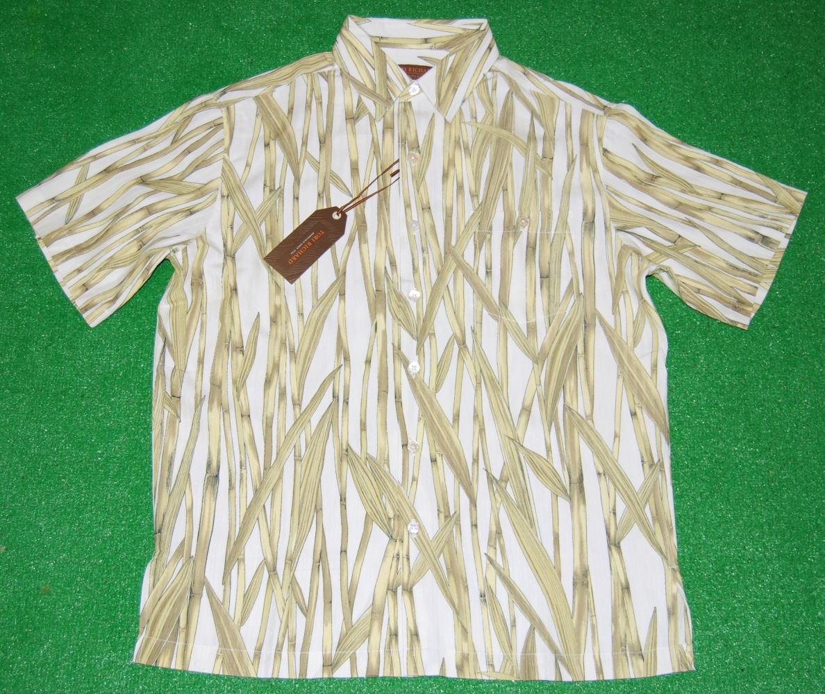 アロハシャツ|TORI RICHARD(トリリチャード)|TOR003|半袖|メンズ|オフホワイト(アイボリー・白)|和柄(竹・バンブー)|シルク75%リヨセル25%(ジャガード織)|普通襟(ノーマルカラー)|送料無料商品