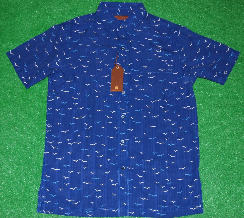 アロハシャツ|TORI RICHARD(トリリチャード)|TOR005|半袖|メンズ|ネイビーブルー(紺・青)|カモメ柄(海・空)|シルク100%(ジャガード織)|普通襟(ノーマルカラー)|送料無料商品
