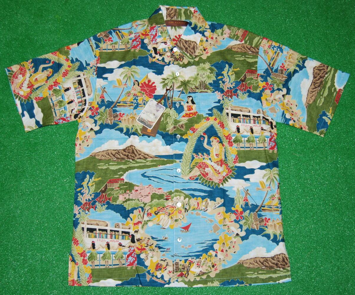 アロハシャツ|TORI RICHARD(トリリチャード)|TOR017|半袖|メンズ|サックスブルー(水色・青)|ネイビー(紺)|マトソンラインのメニュー柄(ヴィンテージ柄)|コットンローン100%|普通襟(ノーマルカラー)|送料無料商品