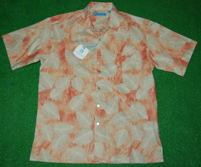 アロハシャツ|TORI RICHARD(トリリチャード)|TOR022|半袖|メンズ|オレンジ|サンゴ|ベージュ|ハワイアン|リーフ・葉柄|コットンローン100%|普通襟(ノーマルカラー)|送料無料商品