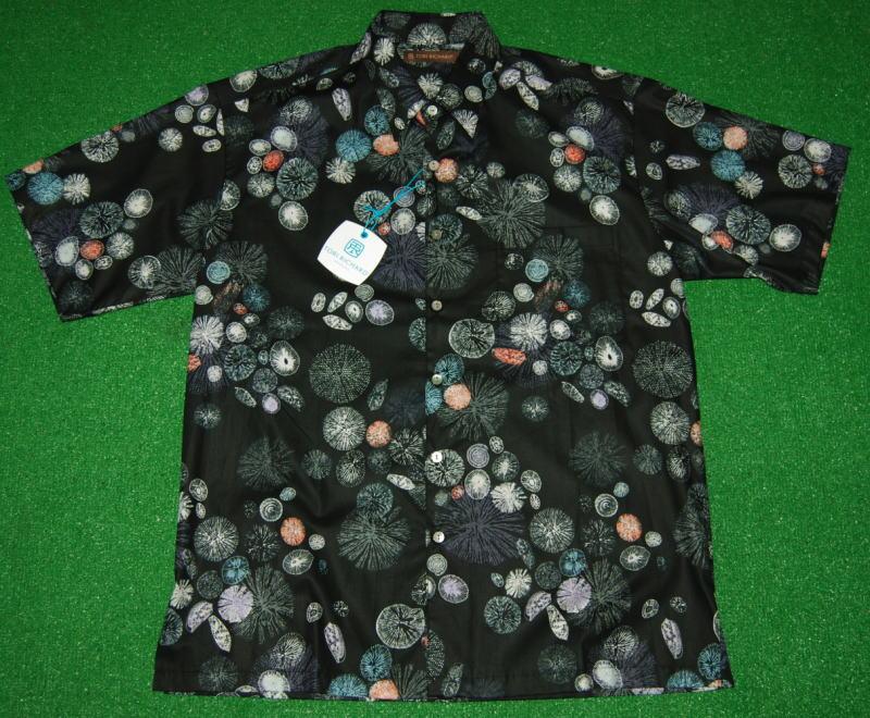 アロハシャツ TORI RICHARD(トリリチャード) TOR035 半袖 メンズ ブラック(黒) 貝 珊瑚 サンゴ礁 海 深海 宝石 リーフアクアリウム リゾート コットンローン100% 普通襟(ノーマルカラー) 送料無料商品