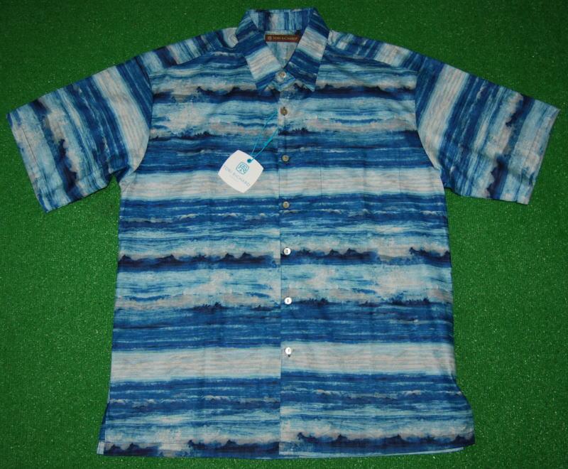 アロハシャツ TORI RICHARD(トリリチャード) TOR036 半袖 メンズ ブルー(青) 海 波 オーシャン ハワイ リゾート コットンローン100% 普通襟(ノーマルカラー) 送料無料商品