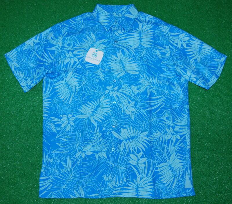 アロハシャツ|TORI RICHARD(トリリチャード)|TOR038|半袖|メンズ|パシフィックブルー|リーフ・葉柄|ハワイアン|南国|リゾート|シルク70%リヨセル30%|開襟(オープンカラー)|送料無料商品