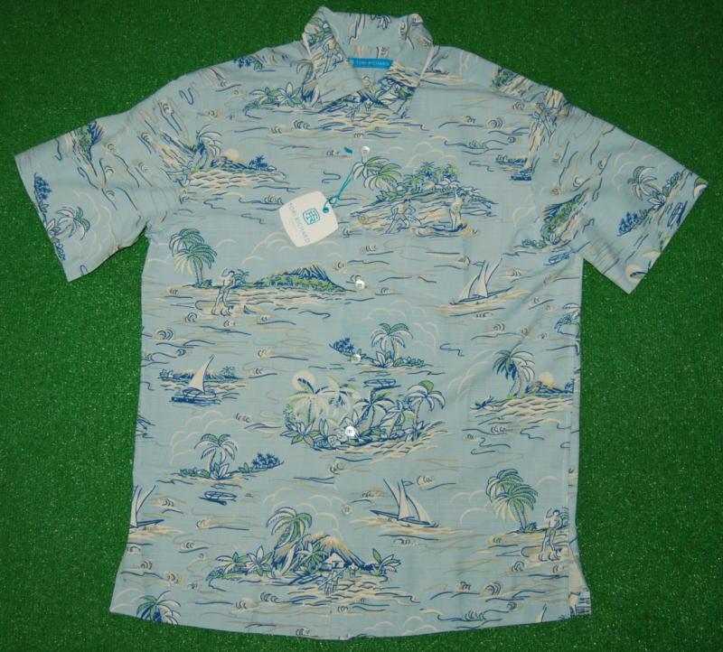 アロハシャツ|TORI RICHARD(トリリチャード)|TOR039|半袖|メンズ|サックスブルー(水色)|リゾート|サーフィン|ヤシの木|ハワイ|南国|シルク70%リヨセル30%|開襟(オープンカラー)|送料無料商品