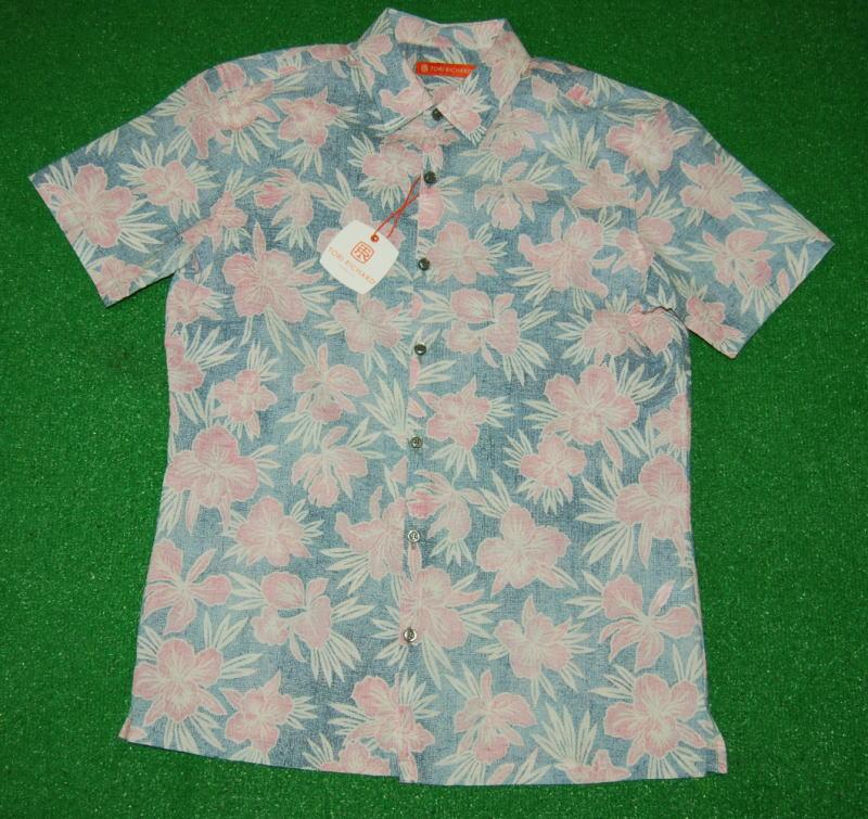 アロハシャツ|TORI RICHARD(トリリチャード)|TOR043|半袖|メンズ|ネイビー|ライトピンク|花柄(ハワイアンフラワー・ハイビスカス)|コットンローン100%|普通襟(ノーマルカラー)|送料無料商品