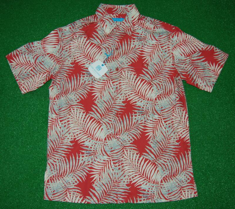 アロハシャツ|TORI RICHARD(トリリチャード)|TOR049|半袖|メンズ|サーモンピンク|ハワイアンリーフ柄(ヤシの葉・ヤシの木)|シルク70%コットン30%(ジャガード織)|普通襟(ノーマルカラー)|送料無料商品