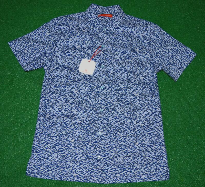 アロハシャツ|TORI RICHARD(トリリチャード)|TOR053|半袖|メンズ|ブルー(青)|サメ|シャーク|ジョーズ|深海|魚|海|ハワイアン|コットンローン100%|普通襟(ノーマルカラー)|送料無料商品