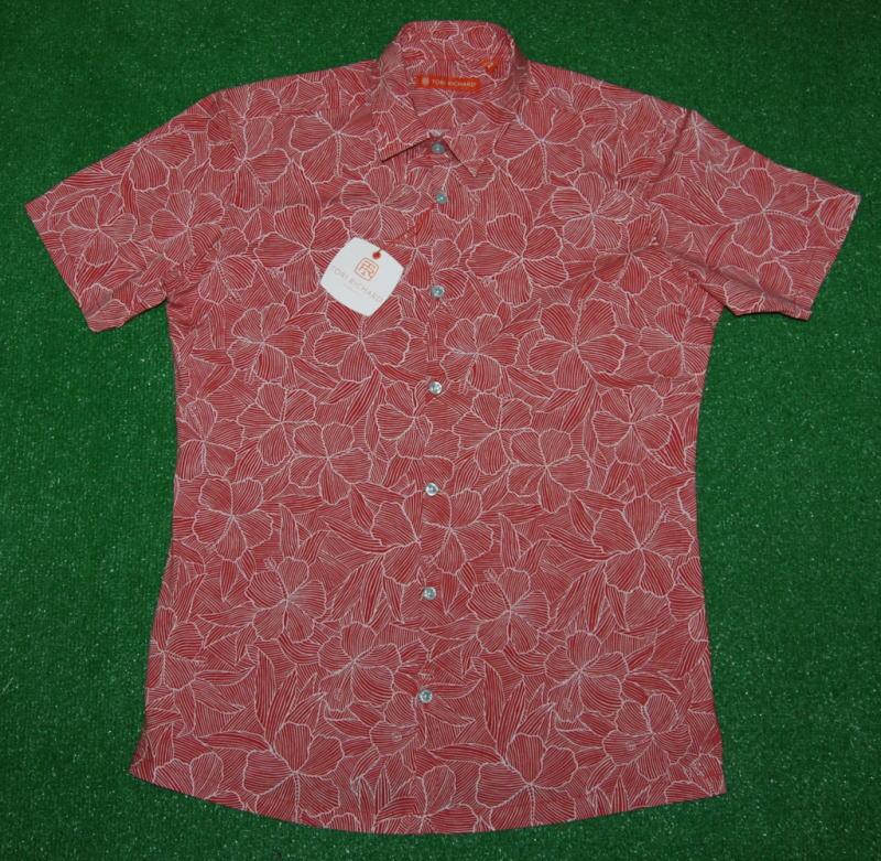 アロハシャツ TORI RICHARD(トリリチャード) TOR060 半袖 メンズ レッド(赤) ホワイト(白) 花・フラワー柄 ハイビスカス ハワイアン リゾート ツートーン コットン97% スパンデックス3% 普通襟(ノーマルカラー) 送料無料商品