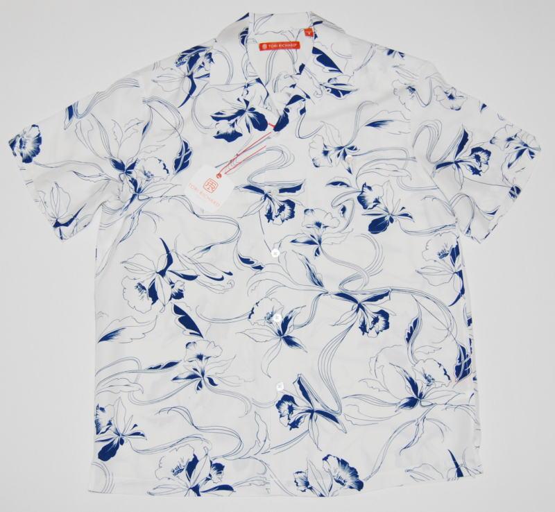 アロハシャツ TORI RICHARD(トリリチャード) TOR067 半袖 メンズ ホワイト(白) 花柄 フラワー 蘭 オーキッド ツートーン ハワイアン シルク70%リヨセル30% 開襟(オープンカラー) 送料無料商品