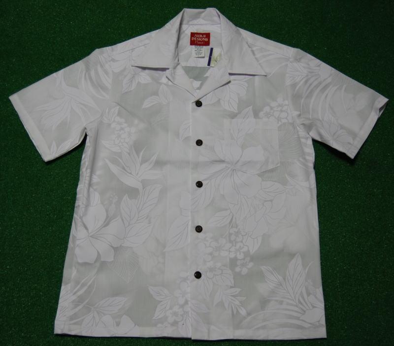 アロハシャツ AKIMI DESIGNS HAWAII(アキミ デザインズ ハワイ) AKW094 半袖 メンズ ホワイト(白) 結婚式・挙式用にも ハイビスカス・バードオブパラダイス・プルメリア シダ ハワイアン コットン35%ポリ65% 開襟(オープンカラー) 送料無料商品