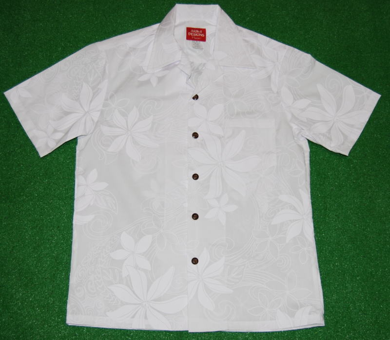 アロハシャツ|AKIMI DESIGNS HAWAII(アキミ デザインズ ハワイ)|AKW099|半袖|メンズ|ホワイト(白)|結婚式|挙式用|ウェディング|リゾート|フラワー・花|レフア|プルメリア|コットン35%ポリ65%|開襟(オープンカラー)|送料無料商品