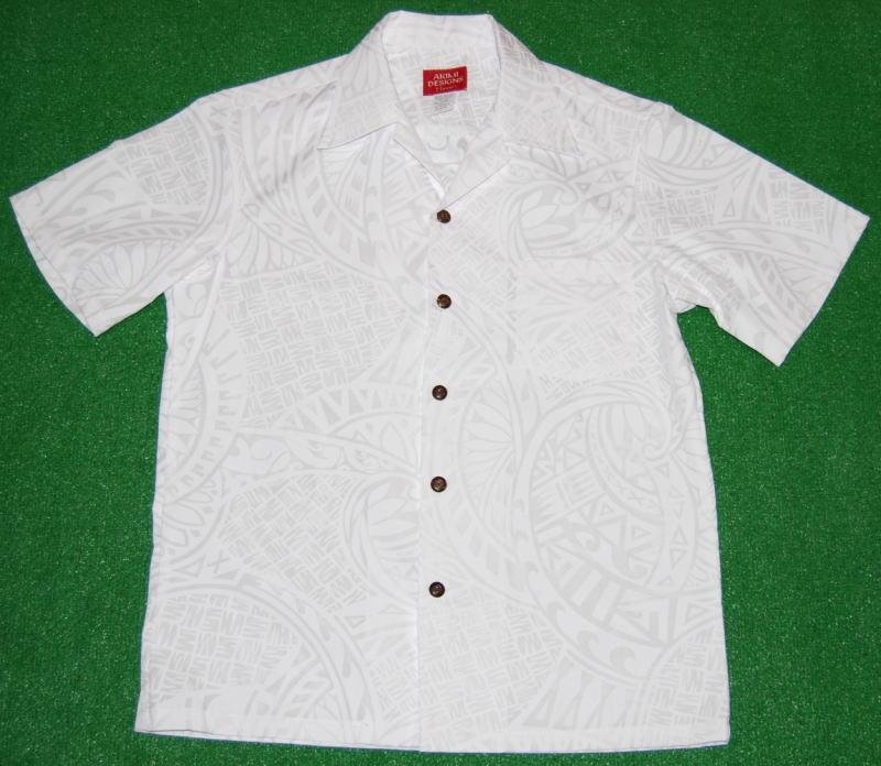 アロハシャツ|AKIMI DESIGNS HAWAII(アキミ デザインズ ハワイ)|AKW101|半袖|メンズ|ホワイト(白)|結婚式|挙式用|ウェディング|リゾート|TAPA|ハワイアン|プレゼント|コットン35%ポリ65%|開襟(オープンカラー)|送料無料商品