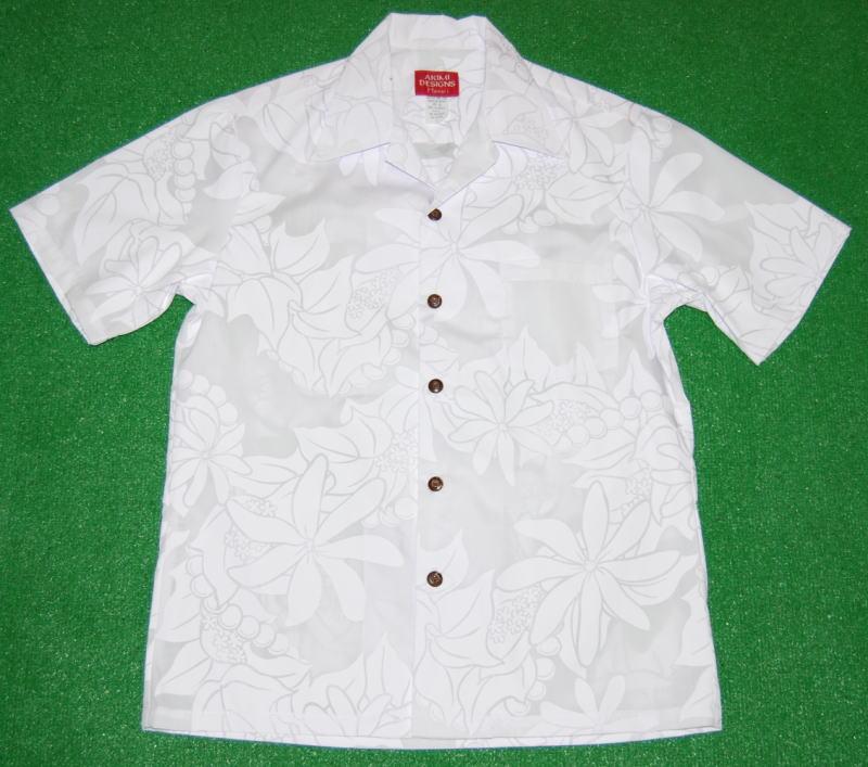 アロハシャツ|AKIMI DESIGNS HAWAII(アキミ デザインズ ハワイ)|AKW102|半袖|メンズ|ホワイト(白)|結婚式|挙式用|ウェディング|リゾート|フラワー・花|レフア|ククイ|レイ|ハワイアン|コットン35%ポリ65%|開襟(オープンカラー)|送料無料商品