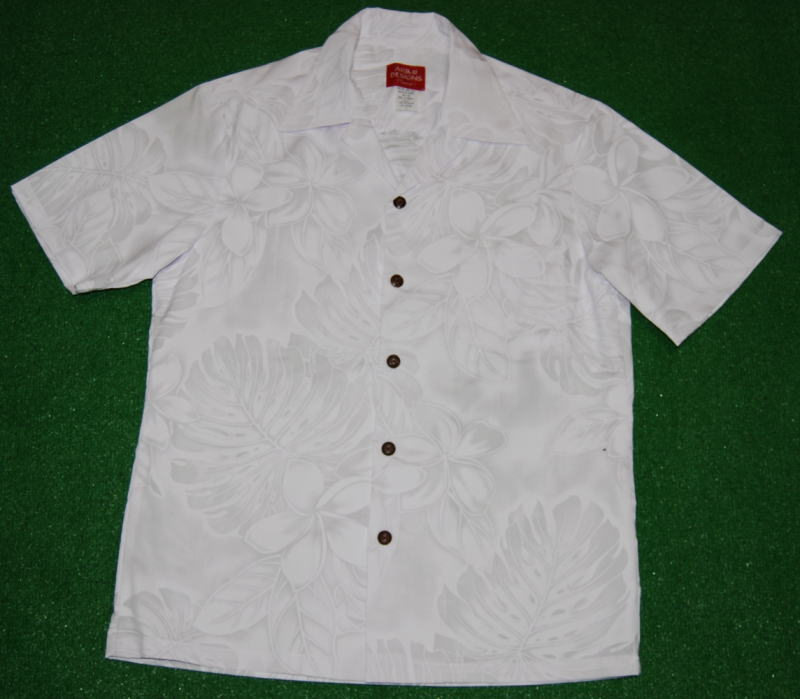 アロハシャツ AKIMI DESIGNS HAWAII(アキミ デザインズ ハワイ) AKW103 半袖 メンズ ホワイト(白) 結婚式 フォーマル リゾート フラワー・花柄 葉柄・リーフ コットン35%ポリ65% 開襟(オープンカラー) 送料無料商品