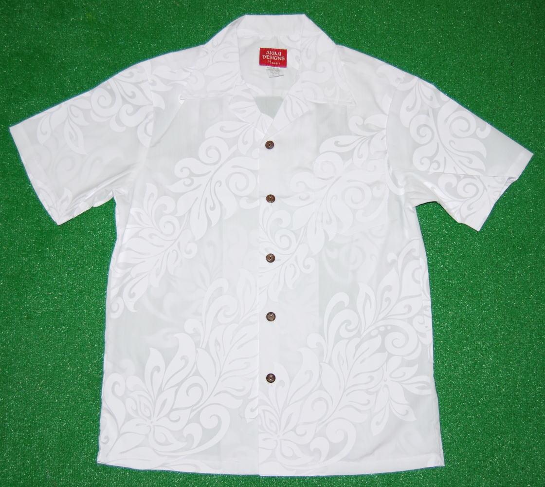 アロハシャツ|AKIMI DESIGNS HAWAII(アキミ デザインズ ハワイ)|AKW032|半袖|メンズ|ホワイト(白・純白)|結婚式・挙式用にも|リーフ柄|斜めボーダー(ダイアゴナル)|コットン35%ポリ65%|開襟(オープンカラー)|送料無料