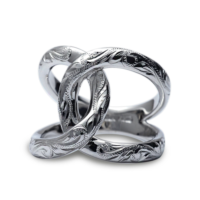 リング 指輪 ハワイアンジュエリーレディース 女性(Weliana) K18 18金 ホワイトゴールド クロス リング wri1451/ プレゼント ギフト