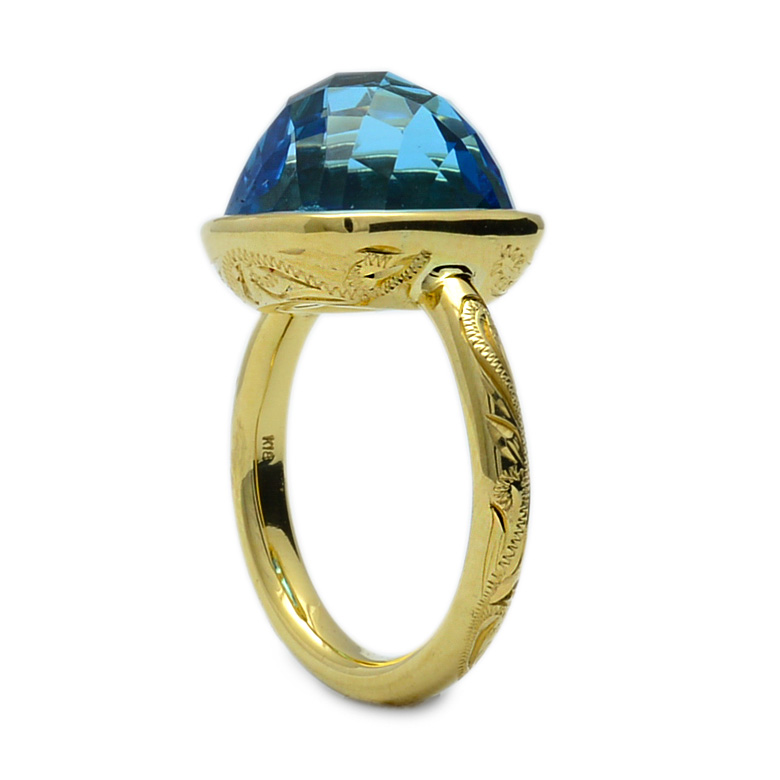 リング 指輪 ハワイアンジュエリーレディース 女性(Weliana) K18 18金 ブルートパーズ トロピカルガーデンスクロール リング イエローゴールド  wri1444/