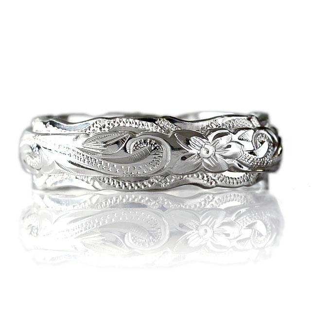 リング 指輪 ハワイアンジュエリーレディース 女性 メンズ 男性 デュアルトーン 6mm幅・2種類のカットエッジから選べる シルバーリング ペアリングにオススメ シルバー 925 ari1082 プレゼント ギフト