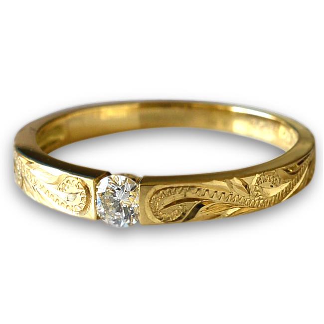 一粒 ダイヤモンド リング 指輪 ハワイアンジュエリー アクセサリー レディース 女性 ひと粒 ダイヤ フラット ゴールドリング K18 18k ゴールド 18金・幅2.3mm (イエロー ピンク ホワイト) ari1136