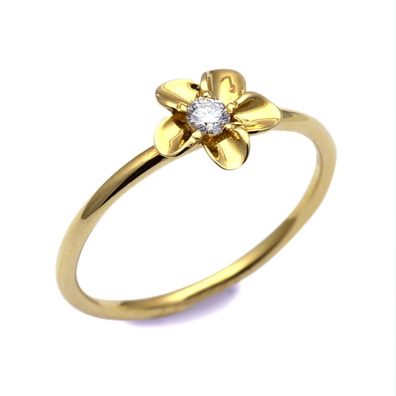 リング 指輪 ハワイアンジュエリー レディース 女性 華奢 ダイアモンド プルメリア フラワー リング K18 18k ゴールド 18金 イエロー ari1324/ プレゼント ギフト