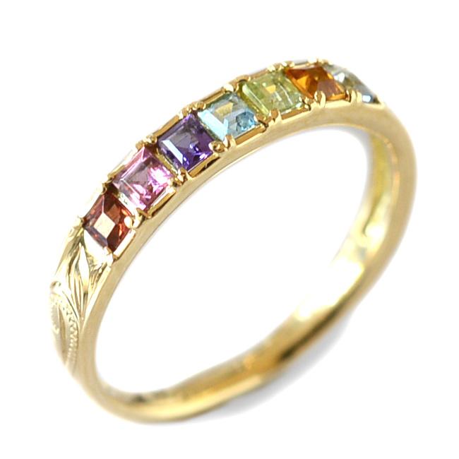 リング 指輪 ハワイアンジュエリー レディース 女性 アミュレット カラーストーン スクロール ゴールドリング K18 18k ゴールド 18金 イエロー ari1349/新作