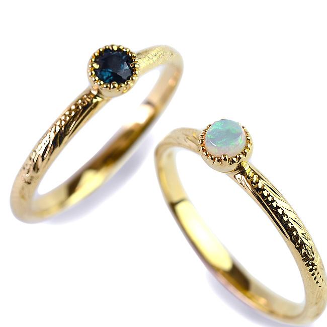 一粒 リング 指輪 ハワイアンジュエリー アクセサリー レディース 女性 ひと粒 ロンドンブルートパーズ オパール シルキー ゴールドリング(K18 18k ゴールド 18金 幅2mm イエローゴールド) 華奢 ari1409
