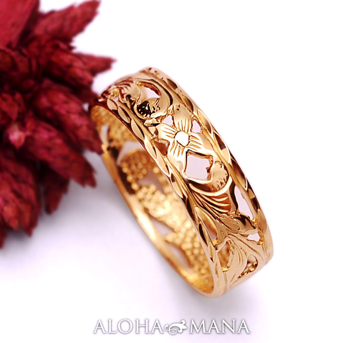 ハワイアンジュエリー リング 指輪 アクセサリー レディース 女性 メンズ 男性 K14ゴールド ピンクゴールド リング 指輪Princess 透かし柄 ambrig09crpg プレゼント ギフト