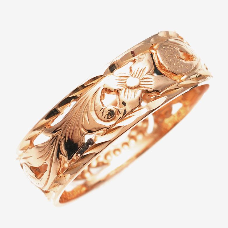 リング 指輪 ハワイアンジュエリー アクセサリー レディース 女性 メンズ 男性 K14ゴールド ピンクゴールド リング 指輪Princess 透かし柄 ambrig09crpg