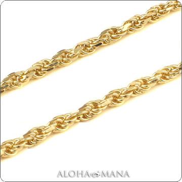 ネックレス ハワイアンジュエリー ネックレス (Weliana)ネックレス カットロープチェーン幅1.5mm(長さ40cm・45cm・50cm)K14イエローゴールド dch151034