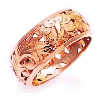 リング 指輪 ハワイアンジュエリー アクセサリー レディース 女性 メンズ 男性 K14ゴールド ゴールドリング 透かし彫りParadise ピンクゴールド hijri000pg レース
