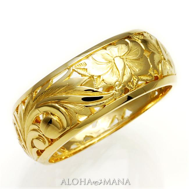 ハワイアンジュエリー リング 指輪 アクセサリー レディース 女性 メンズ 男性 K14ゴールド ゴールドリング 透かし彫りParadise イエローゴールド hijri000yg レース プレゼント ギフト