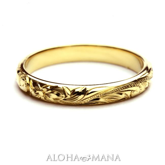 (Weliana)ONLYONE マリッジリング 結婚指輪 ハワイアンジュエリー リング レディース 女性 メンズ 男性 バレル ゴールドリング (幅3mm) cdr001mili オーダーメイド ハンドメイド