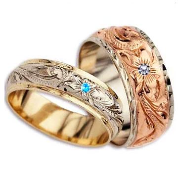ハワイアンジュエリー リング (Weliana)ONLYONE マリッジリング 結婚指輪 レディース 女性 メンズ 男性 ペアリング デュアルトーン バレルストレート ゴールドリング ペア セットcdr017pair(幅6mm・8mm・10mm・12mm) オーダーメイド ハンドメイド