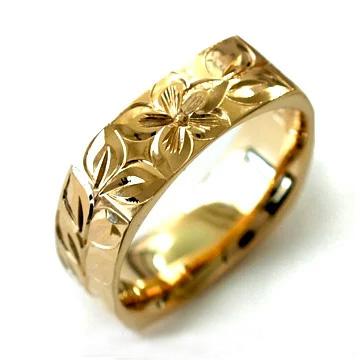 (Weliana)ONLYONE マリッジリング 結婚指輪 ハワイアンジュエリー リング レディース 女性 メンズ 男性 4サイド ゴールドリング cdr076(幅3mm・6mm・8mm) オーダーメイド ハンドメイド プレゼント ギフト