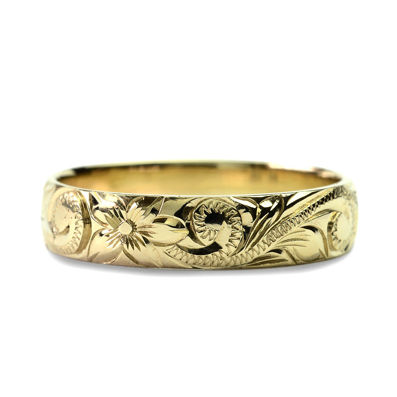 (Weliana)ONLYONE マリッジリング 結婚指輪 ハワイアンジュエリー リング レディース 女性 メンズ 男性 バレルプレーンまたはカットアウトエッジ ゴールドリング cdr001(幅4mm・6mm・8mm・10mm) オーダーメイド ハンドメイド