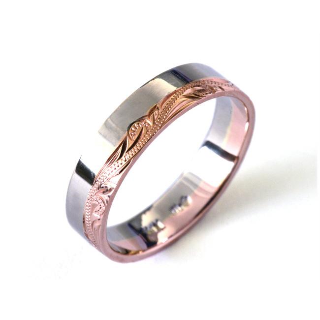 マリッジリング 結婚指輪 ハワイアンジュエリー リング レディース 女性 メンズ 男性 (Weliana)ONLYONE ゴールドリング ハーフエングレイビング コンビネーションカラー K14 /K18 /pt900 オーダーメイド ハンドメイド cdr1395