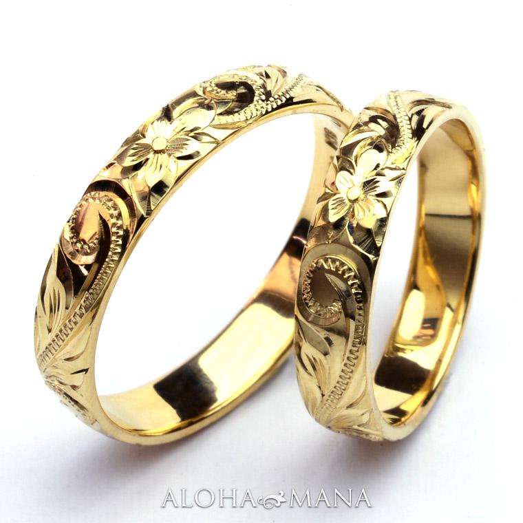 (Weliana)ONLYONE マリッジリング 結婚指輪 ハワイアンジュエリー ペアリング レディース 女性 メンズ 男性 バレルプレーンエッジ ゴールドリング ペア セット cdr001pair (幅4mm・6mm・8mm・10mm) オーダーメイド ハンドメイド