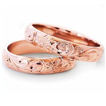 マリッジリング 結婚指輪 ハワイアンジュエリー ペアリング (Weliana)ONLYONE レディース メンズ ゴールドリング ピンクゴールド バレル ノーエッジまたはカットアウト ペア セット hijri022pgpair(幅4mm・6mm) オーダーメイド ハンドメイド