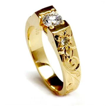 (Weliana)ONLYONE エンゲージリング 結婚指輪 婚約指輪 ハワイアンジュエリー リング レディース 女性テーパービート ダイヤモンド セッティング ウェディング ゴールドリング lgr002 プレゼント ギフト