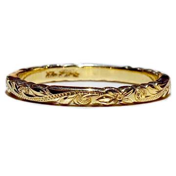 ハワイアンジュエリー 結婚指輪 リング マリッジリング マリッジや記念日など特別な日にふさわしいリング  指輪リング ハワイアンジュエリー レディース 女性 メンズ 男性 [Maxi]マキシ オールドイングリッシュカットアウトエッジマリッジリング ・K14ゴールド mxri0585 プレゼント ギフト クリスマス