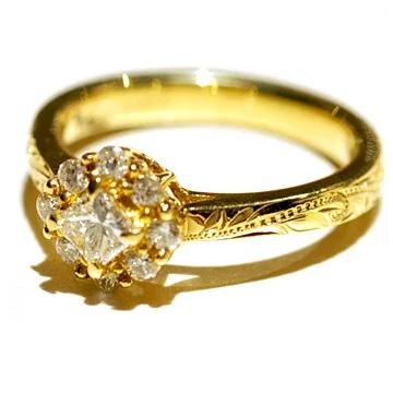 Hawaiian jewelry ring (Maxi) set-Princess tiara engagement ring Diamond 0.30 ct-K18 gold mxrier3